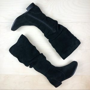 Steve Madden Black Suede Beacon Tall Slouchy Boots